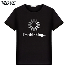 I'm thinking funny printed men t shirt 2017 new trend O-neck tshirt short sleeve depeche mode tops casual clothing(China)