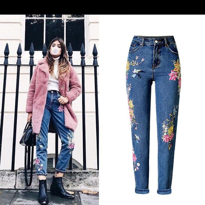 New Arrive Women Vintage High Waist Birds Embroidery Denim Jeans Ladies Fashion Top Quality Slim Trousers Femme Free ShippingÎäåæäà è àêñåññóàðû<br><br>