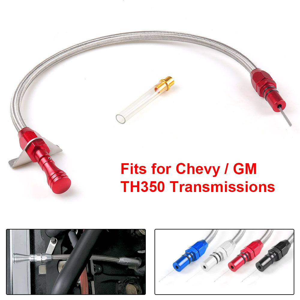 DEWHEL Flexible Stainless 350 Transmission Dipstick TH350 Tranny SBC BBC Trans For Chevy GM Blue