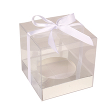 12Pcs Wedidng Cupcake Box Clear PVC Transparent Cake Boxes With Base Inside Wedding Party Gift Box And Cake Packaging Sliver(China)