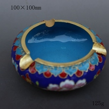 Beijing China wind technology gift fetal copper filigree Enamel Cloisonne ashtray office Home Furnishing blue