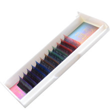 12 rows/tray False Eyelash Extension Gradient Color Rainbow Colored Mink Fake Eyelashes Colorful Cilia Eye lash Extension