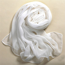 Shocking Show Summer Beach Style 100% Silk Pure White Soft Thin Oblong Scarf Shawl