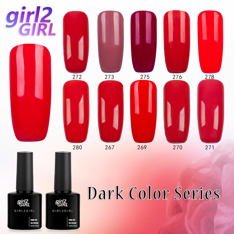 girl2GIRL 8 ML Soak Off UV Gel Nail Gel Polish Cosmetics Nail Art Manicure Nails Gel Polish Nail Varnish RED set