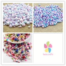Lucia Crafts 4/6/8/10mm Multi size option random mix color Pearls Round Bead garment accessories 20g/lot 005008035