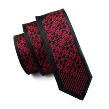 2017 Fashion Slim Tie Dark Red & Black Geometry Skinny Narrow Gravata Silk Ties For Men Wedding Party Groom HH-119(China)