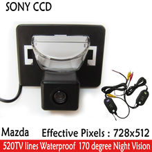 2.4G wireless Car cameras RearView Reverse SONY CCD HD camera parking 170 Wide Angle Night Vision Camera for Mazda 5 2005-2010
