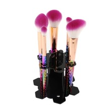 6 Holes Makeup Brush Dryer Airing Holding Stand Acrylic Tree Shape Pen Organize Cosmetic Display Showing Rack(China)