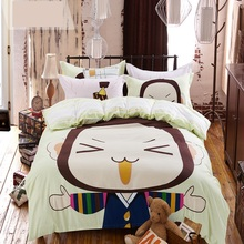 Cartoon 4pcs Bedding set 100% cotton Bed sets King size Soft warm for kids children Duvet cover Bedsheet 2 Pillowcase no filling