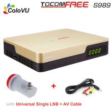 Satellite TV Receiver TocomFree S989 + LNB + AV Cable FTA DVB-S/S2 with Free IKS SKS IPTV for Brazil / Chile / South America(China)