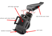 Clip Rotary Car Sun Visor Mobile Phone Holders Stands Mounts For Xiaomi Redmi 3s Prime,Mi Note 2,Mi Mix,Redmi 4 4a 4 Prime Pro 2