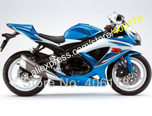 Hot Sales,White Blue For SUZUKI fairings GSXR 600 750 2008 2009 2010 K8 GSXR600 GSXR750 08 09 10 Fairing (Injection molding)
