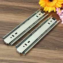 Top Quality 2Pcs 8inch Long 3 Sections Ball Bearing Slide Rail Cabinet Drawer Runners Slider(China)