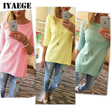 IYAEGE T Shirt Women 2017 Fashion Solid Color Long Tops Tees Shirt O Neck Half Sleeve Tunic T-Shirts Loose Casual Jumper Blusas