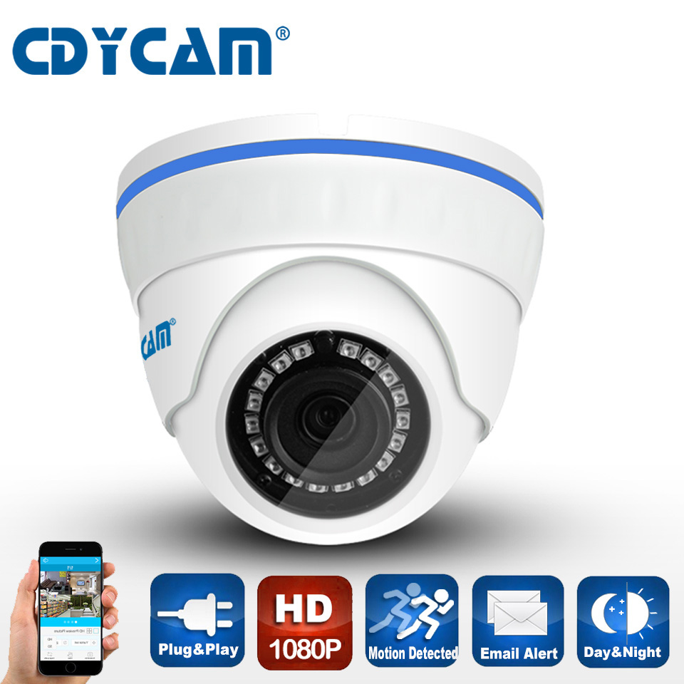 CDYCAM Mini 2.0MP POE IP camera 1920*1080 Full HD 1080P Video surveillance onvif2.4 Indoor Vandalproof Night Vision camera P2P<br>