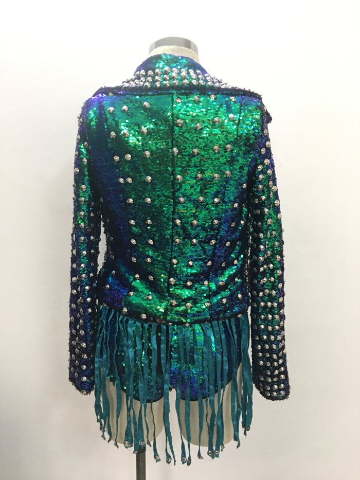 Female sexy Jazz costumes Green rivet sexy bodysuit tassels jacket stage dress singer dancer Hip Hop show performance stage Wear