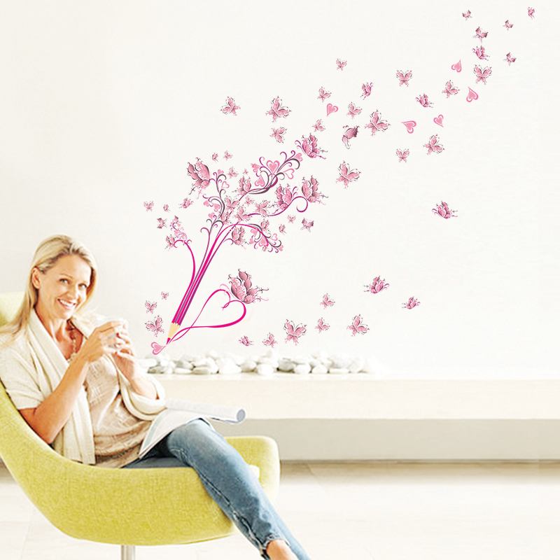 HTB17 WLxv9TBuNjy1zbq6xpepXax - Flying Pink Butterfly Flower Blossom Pencil Tree Wall Sticker