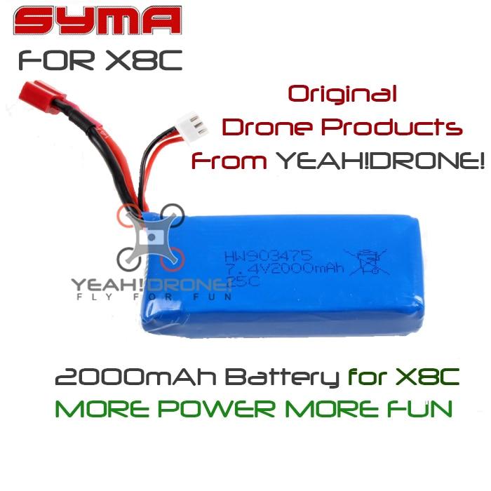 Quadcopter Spare Parts Syma X8C X8W X8G Battery 7.4V 2000mAh Round Banana Plug Lipo Battery<br><br>Aliexpress
