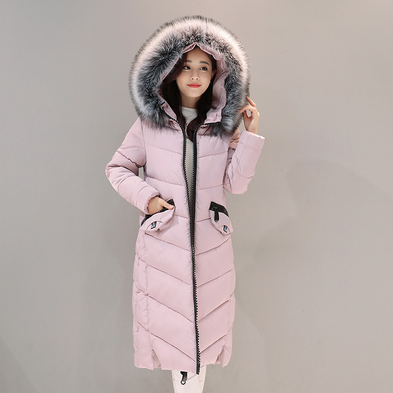 2017 Autumn Winter New Fahion Womens Down Jacket Hooded Cotton Long Fur Collar Slim Women Parkas Zipper Ladies Outwear ParkasÎäåæäà è àêñåññóàðû<br><br>