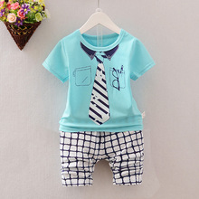2017 Summer children suits kids five Stars Necktie pattern clothing sets boys girls shcool words t-shirt+striped pants