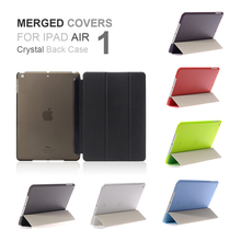 2017 New Merge Cover PU Leather Ultra Thin Slime Light Tri-fold Smart Color Transparent Back Case for iPad Air 1(China)
