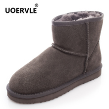 UOERVLE Brand Women Snow Boots 100% Natural Wool Australia Snow Boots Winter Ankle Shoes Short Sheepskin Women's Fur Boot UO6855(China)