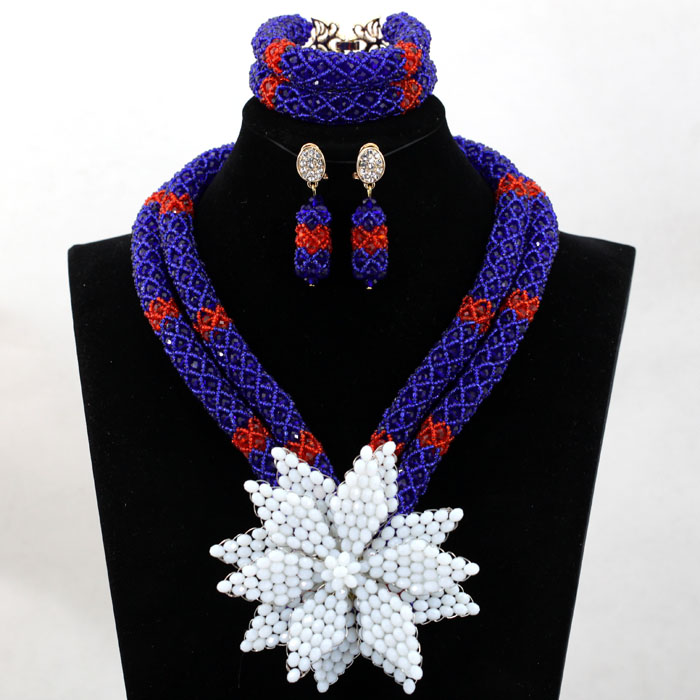 Latest Royal Blue/Red Beauty Jewelry Set African Bride Crystal Floral Costume Necklace Set Flower Brooch Free Shipping HX770