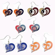 Auburn Tigers Chicago Cubs Florida State Seminoles Kentucky Wildcats UK Tennessee Vols Volunteers team logo swirl heart Earrings(China)