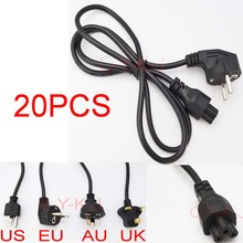 20pcs Wholesale AC Power Cord cable for laptop adapter lead Adapter EU, US, AU ,UK Plug All Available