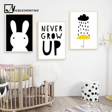 NICOLESHENTING Cartoon Rabbit Canvas Poster Life Quote Minimalist Art Painting Nursery Wall Picture Print Baby Room Decoration(China)