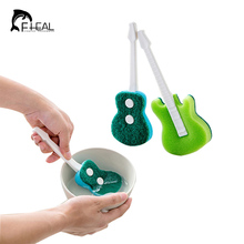 FHEAL Creative Guitar shape Magic Sponge Brush Kitchen Bowl Pot Cup Double Side Cleaning Brush Cleaner Tool(China)