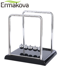 ERMAKOVA Newton's Cradle Art in Motion Balance Balls Physics Pendulum Science Wave Desk Office Classic Toy-Black Plastic Base