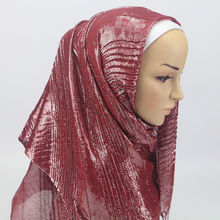 1 pc New Design Wrinkled Scarf islamic muslim hijabs tassel shawls shiny Shimmer glitter Scarves wrap for women
