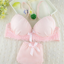 Buy Plus Size Women Bra Panty Sets 2 Piece Lolita Lingerie Floral Lace Bra Push Panties Underwear Women Black Blue Pink Bras