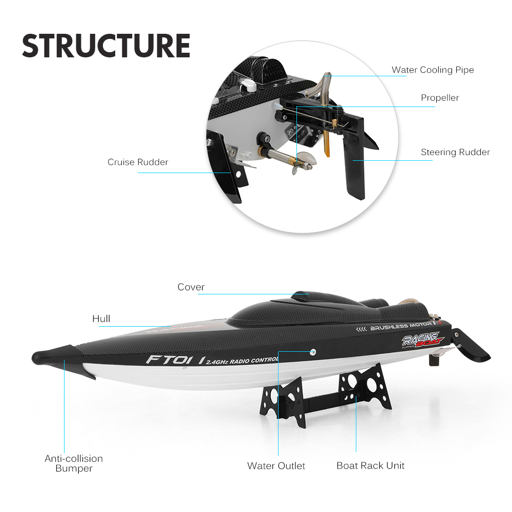 Feilun FT011 2.4G 55kmh High Speed RC Boat Racing Boat with Water Cooling Flipped Self-righting Function Ship Speedboat Toys (3)