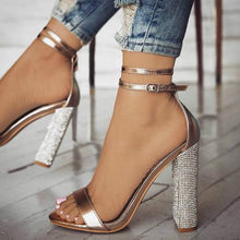 woman shoes chaussure cross-tied Zapatos Mujer ladies summer sandals women  sexy chunky high heels pumps shiny crystal F180658 713f1b5ed8cb