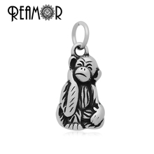 REAMOR Polishing 316l Stainless Steel Monkey Floating Animals Dangle Charms Lobster Clasp Necklace Pendant Wholesale