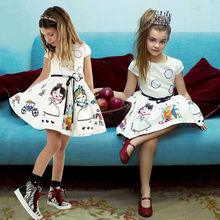 Kid Girls Clothing Dresses Summer Baby Brief Formal Vintage White Toddler Princess Party Tutu Floral Dress Girls 2-7Y