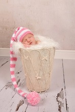free shipping,CROCHET NEWBORN BABY white & pink  LONG TAIL ELF HAT,100% cotton baby Stocking Hat - PHOTO PROP