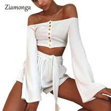 Ziamonga Stretch Knitted Open Button Short Sweater Flare Long Sleeve Crop Tops Jumper Knitwear Women Punk Rock Casual Pullover(China)