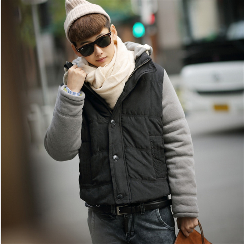 2015 New Winter Fashion Casual Hooded Coat Solid Color Stitching Thick Winter Coat Thicker  Slim Men Influx of menОдежда и ак�е��уары<br><br><br>Aliexpress
