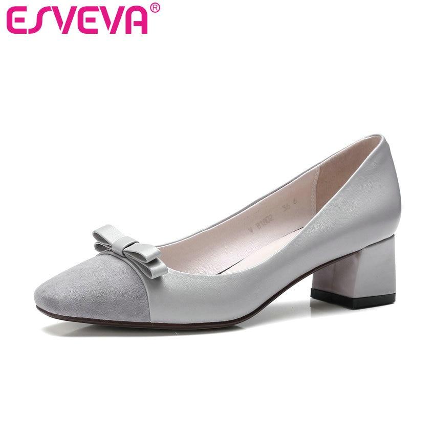 ESVEVA 2017 Square Toe Woman Pumps Elegant Bow Tie Wedding Shoes Med Heel Women Pumps Square Heel Spring Autumn Shoes Size 34-40<br><br>Aliexpress