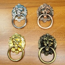 Single Hole European rural style furniture handle classical pull bronze lion head rings for cabinet or drawer(China)