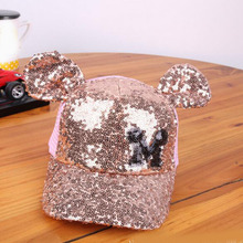Ymsaid 2017 Baby Girls Sequins M LOGO Horn Baseball Caps Children Snapback Mesh Summer Adjustable Sun Hats Decoration(China)
