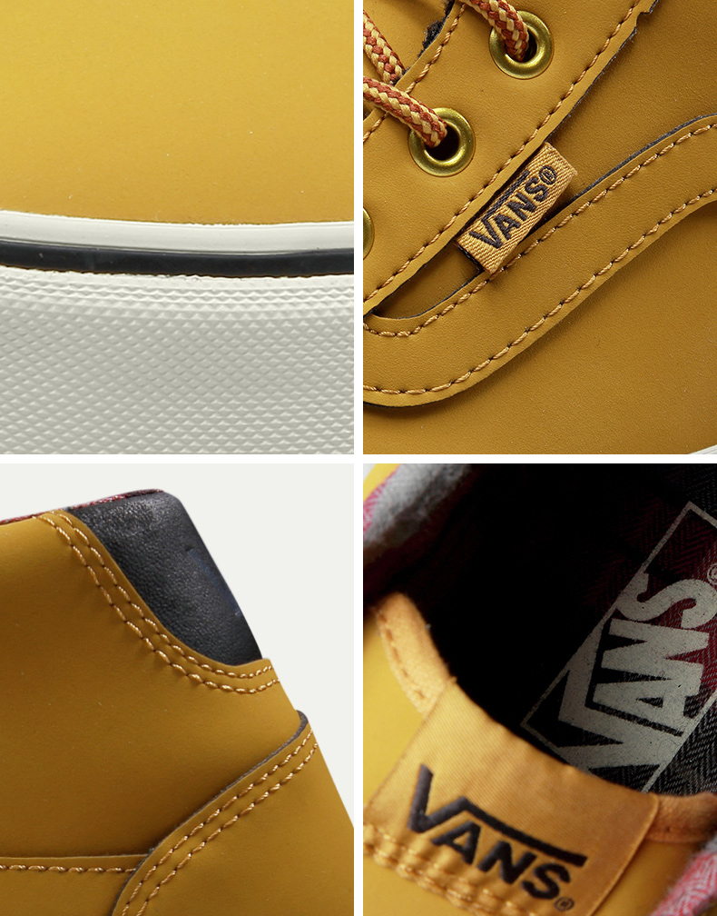 Original Vans Brown Color High-Top Men's Sneakers For Men Skateboarding Shoes Sport Shoes