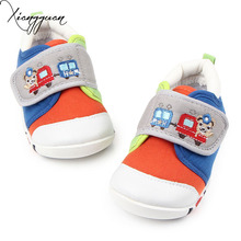 New Hot Kids Sports Shoes Embroidered Bear Pattern Rubber Sole Kids Baby Boy Walking Shoes 1-3 Years Old