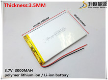 1pcs/lot 3.7V lithium polymer battery 3565100 seven inches tablet battery 3000mah cool can instead of 3.5*65*100 free shipping(China)