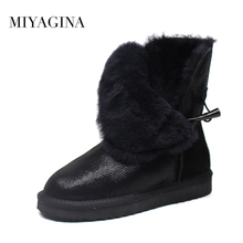 Top Quality New Arrival 100% Waterproof Genuine Cowhide Leather Snow Boots Real Fur Classic Mujer Botas Winter Women Shoes(China)