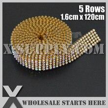 3mm 5 Rows Metal Rhinestone Mesh Trim Crystal AB Rhinestone in Gold Base  with Back Glue for Bridal Dress 661b30902ac5