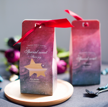 50 Pcs Purple / Blue / Rose / Red Starry Sky Theme Wedding Favors Candy Boxes Bomboniera Party Gift Box Paper Candy Gift Bags